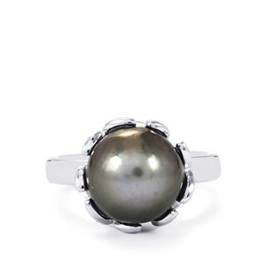 Tahitian Cultured Pearl Ring in Sterling Silver (10mm)
