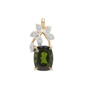 Chrome Diopside Pendant with White Zircon in Gold Plated Sterling Silver 1.43cts