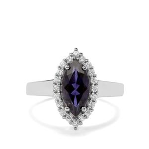 Bengal Iolite & White Zircon Sterling Silver Ring ATGW 1.89cts