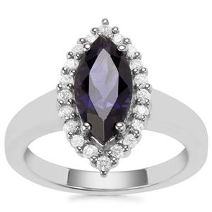 Bengal Iolite Ring with White Zircon in Sterling Silver 1.89cts