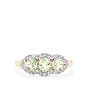 Mozambique Mint Tourmaline Ring with White Zircon in 10K Gold 1.30cts