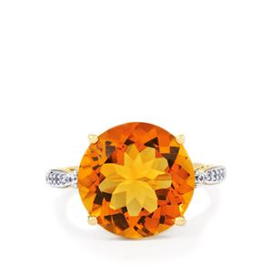 Rio Golden Citrine Ring with White Zircon in 9K Gold 8.92cts