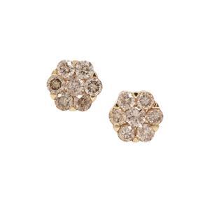 Champagne Diamond Earrings in 9K Gold 1.32cts