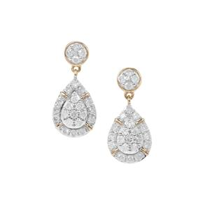 Diamond Earrings in 9K Gold 0.76ct