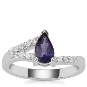 Bengal Iolite Ring with White Zircon in Sterling Silver 0.90ct