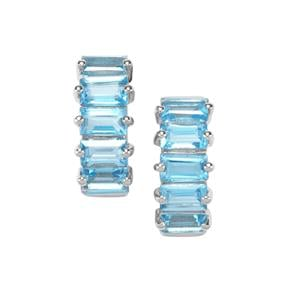 Swiss Blue Topaz Earrings in Sterling Silver 3.60cts