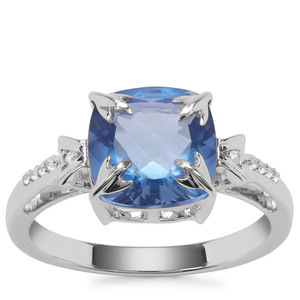 Baiyang Colour Change Fluorite Ring with White Zircon in Sterling Silver 3.42cts