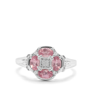Mozambique Pink Spinel & White Zircon Sterling Silver Ring ATGW 1.10cts