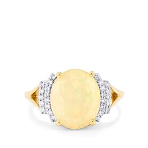 Ethiopian Opal Ring with Diamond in 18K Gold 2.88cts