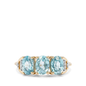 3.88ct Ratanakiri Blue & White Zircon 9K Gold Ring
