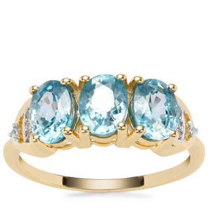 Ratanakiri Blue Zircon Ring with White Zircon in 9K Gold 3.88cts