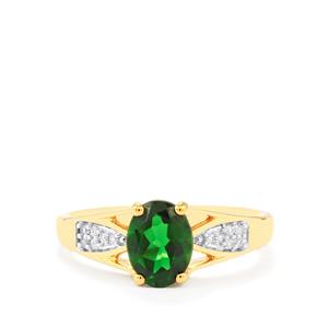 Chrome Diopside & White Zircon Gold Vermeil Ring ATGW 1.38cts