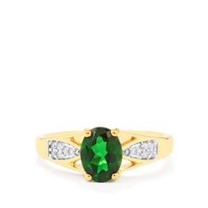 Chrome Diopside Ring with White Zircon in Gold Vermeil 1.38cts