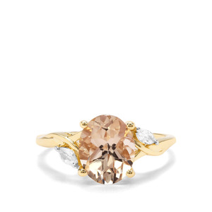 Champagne Danburite & White Zircon 9K Gold Ring ATGW 2.79cts