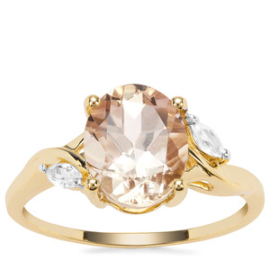 Champagne Danburite Ring with White Zircon in 9K Gold 2.79cts