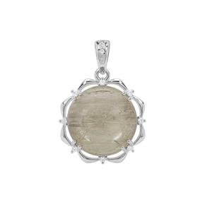 Menderes Diaspore Pendant with White Zircon in Sterling Silver 9.51cts