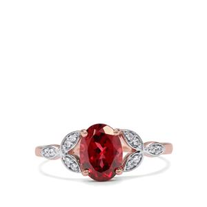 Mahenge Garnet & White Zircon 9K Rose Gold Ring ATGW 1.73cts
