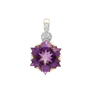 Wobito Snowflake Cut Moroccan Amethyst Pendant with Diamond in 9K Gold 4.16cts