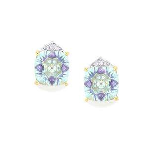 Lehrer KaleidosCut Sky Blue Topaz, Ametista Amethyst Earrings with Diamond in 10K Gold 4.76cts