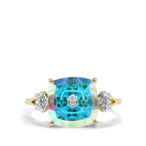 Lehrer TorusRing Mercury Mystic Topaz Ring with Diamond in 9K Gold 3.85cts