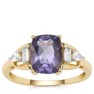Montezuma Blue Quartz Ring with White Zircon in 9K Gold 2.17cts