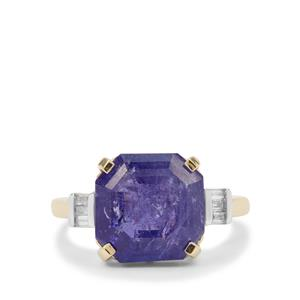 Asscher Cut Tanzanite Ring with Diamond in 9K Gold 7.75cts