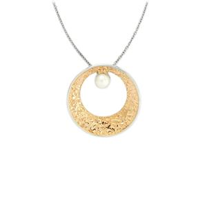 Freshwater Cultured Pearl Two Tone Gold Plated Sterling Silver Pendant Necklace