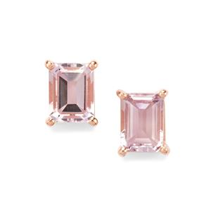 Rose De France Amethyst Earrings in Rose Gold Plated Sterling Silver 2.87cts