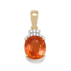 Mandarin Garnet Pendant with Diamond in 18K Gold 4.91cts