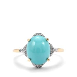 Sleeping Beauty Turquoise Ring with Diamond in 9K Gold 3.08cts