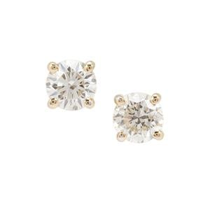 Natural Yellow Diamond Earrings in 18K Gold 1ct