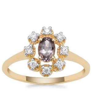 Mahenge Pink Spinel Ring with White Zircon in 9K Gold 0.75ct