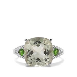 Prasiolite & Chrome Diopside Sterling Silver Ring ATGW 7cts