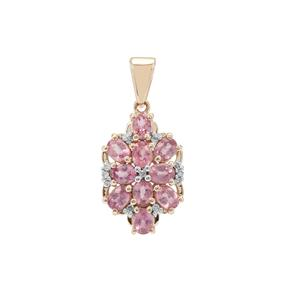 Padparadscha Sapphire Pendant with Diamond in 9K Gold 1.57cts