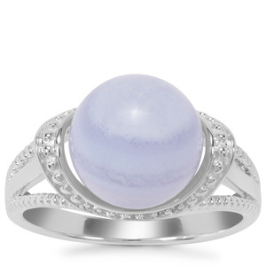 Botswana Agate Ring with White Zircon in Sterling Silver 7.41cts