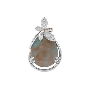 Aquaprase™ Pendant with White Zircon & Champagne Diamond in Sterling Silver 8.34cts