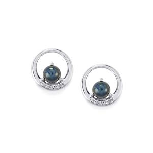 Blue Star Sapphire Earrings with White Topaz in Sterling Silver 3.05cts