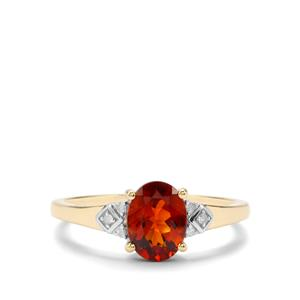 Madeira Citrine Ring with Diamond in 10k Gold 1cts