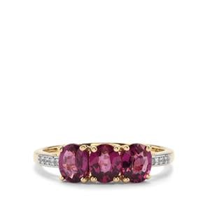 Comeria Garnet Ring with White Zircon in 10K Gold 1.89cts