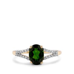 Chrome Diopside & White Zircon 10K Gold Ring ATGW 1.42cts