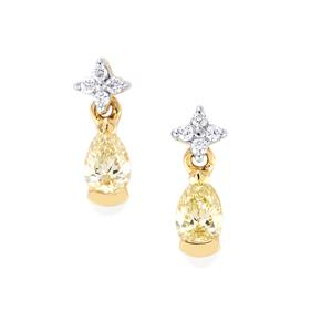 Natural Coloured Diamond Earrings with White Diamond in 18K Gold 0.54ct