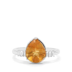 Burmese Amber & White Zircon Sterling Silver Ring ATGW 0.95ct
