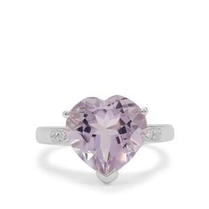 Rose De France Amethyst Ring with White Zircon in Sterling Silver 5.60cts