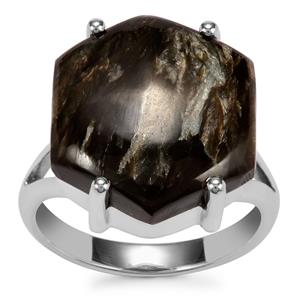 Siberian Seraphinite Ring in Sterling Silver 13cts