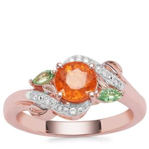 Mandarin, Tsavorite Garnet Ring with White Zircon in Rose Gold Plated Sterling Silver 1.69cts