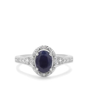 Bharat Blue Sapphire & White Zircon Sterling Silver Ring ATGW 1.96cts