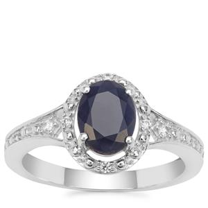 Bharat Blue Sapphire Ring with White Zircon in Sterling Silver 1.96cts