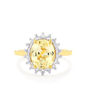 Canary Kunzite Ring with White Zircon in Gold Vermeil 3.65cts