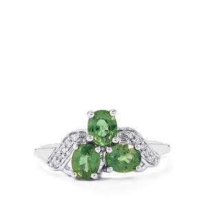 Ilakaka Natural Green Sapphire Ring with Diamond in 14K White Gold 1.37cts