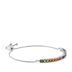 2.01ct Rainbow Tourmaline Platinum Plated Sterling Silver Slider Bracelet